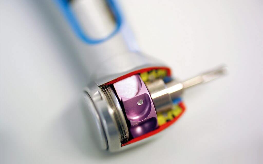 dental drill with dental bearings visible